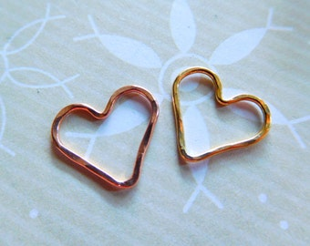 HEART Charms Pendants Links Connector, Hammered / 1-25 pc, 15.5x14 mm / Sterling Silver, Rose or Yellow Gold Fill Heart, hht