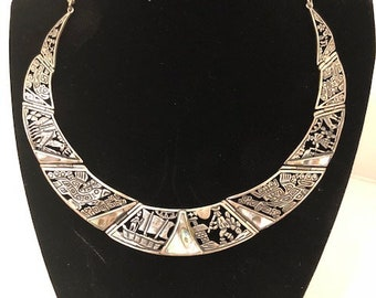 Peruvian Silver Necklace with Inca Images