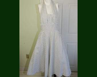 Vintage Rockabilly 1950's Halter Cotton Print Sundress
