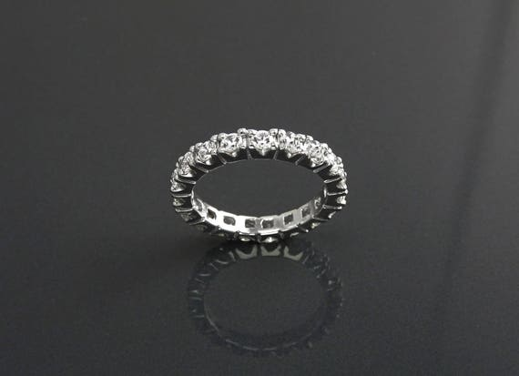 2CT Full Eternity Band, 3mm Wedding Band, Engagement Ring, Man Made Lab Diamond Simulants, Stacking Bridal Ring, Solid Silver