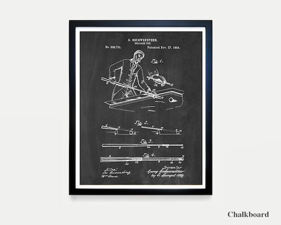 Billiards Cue Patent Poster - Vintage Billiards - Billiards Art - Basement Wall Art - Billiards Decor - Pool Hall - Billiards Poster - Cue