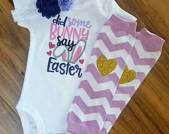 Did Some Bunny say Easter bodysuit- girl's Easter shirt, Easter shirt for girls, baby Easter bodysuit, Easter Bunny shirt