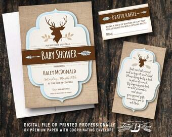 Rustic Baby Shower Invitation SET | Printed Invite | Printable Digital Files DIY | Deer Antlers Horns Burlap Woodland Invitate Baby boy blue