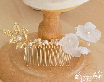 Comb-Joan silk Japanese-crystals swarovski-retro hair comb bridal comb