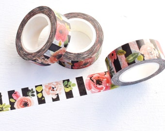 Flowers and Stripes Washi Tape. 15mm x 10m. Floral Washi Tape. Striped Washi Tape. Black and White Washi. Pretty Washi Tape. Rose Washi.