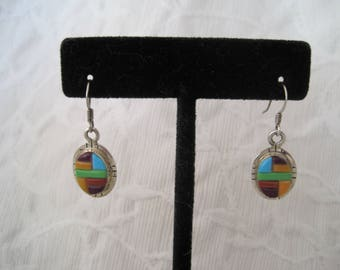 Zuni Inlay Drop Earrings Sterling Silver Turquoise Spiny Oyster & Gaspeite Signed