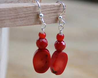 Red Coral Earrings, unique jewelry, handmade, one of a kind, accessories, dangle earrings, fun jewelry, gift