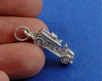Fire Engine Charm - Silver Plated Fire Truck Engine Charm for Necklace or Bracelet