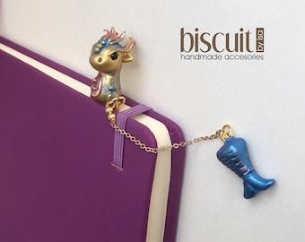 BookMark • Dragon + Mermaid tale • Kawaii • Whimsical •(Cold porcelain, clay)