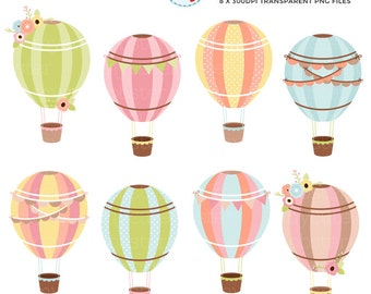 Pretty Hot Air Balloons Clipart Set - pastel air balloons, vintage, floral, balloons - personal use, small commercial use, instant download