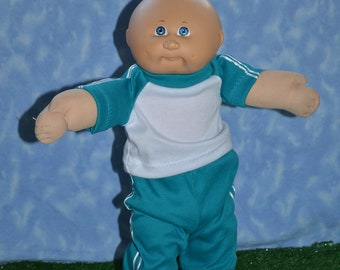 "Cabbage Patch Clothes - Handmade for 16"" - 18"" Boy Dolls - Teal Sweats Outfit"