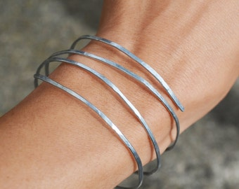 Hammered Wire Stacking Bracelet Spiral Bangle, Handmade Wire Jewelry