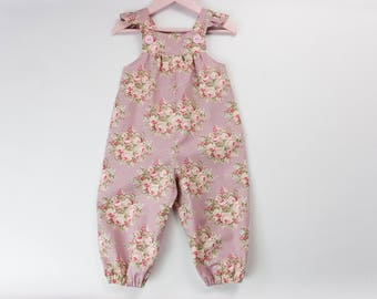 Baby romper, Vintage dungarees, Baby girl romper, Baby girl overalls, Newborn gift, Baby shower gift, Photo shoot outfit, Going home outfit