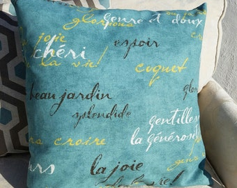 Teal Blue, Brown Yellow & Natural French Script Pillow Cover - Various Sizes