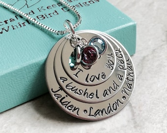 SALE I love you a bushel and a peck and a hug around the neck necklace with children's names mother's necklace with children's birthstones