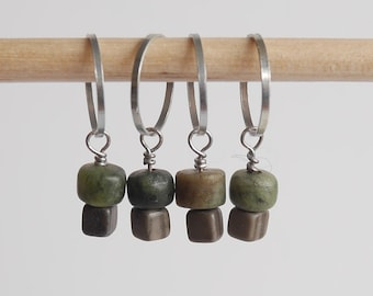 Stitch markers set of 4 green & gray