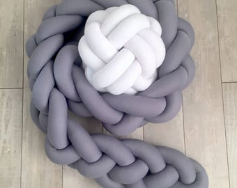 Grey Braided Crib Bumper - Knot Pillow, Knot Cushion, Bolster Pillow, Crib Bedding, Baby Bedding,Baby Sheets, Baby Shower Gift