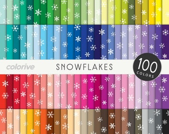 Snowflakes digital paper 100 rainbow colors winter frozen background bright pastel printable scrapbook papers