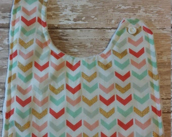 Baby Bib- Gold, Mint and Coral Bib with Minky Backing, Baby Girl Bib, Baby boy Bib,  Minky Baby Bib, Gold Baby Bib, Girl Bib, Boy Bib