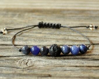 Diffuser Bracelet, Sodalite Bracelet, Beaded Diffuser, Essential Oils, Oil Diffuser, Yoga Bracelet, Meditation Bracelet, Healing Bracelet