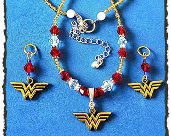 Super Hero Girls Glass Beaded Necklace!  Matching Hearing Aid Charms available at a discounted bundle price!