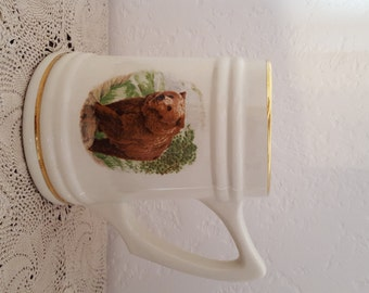 Spectacular Ceramic Beer Mug Featuring a Magnificent Bear Amongst a Woodsy Background