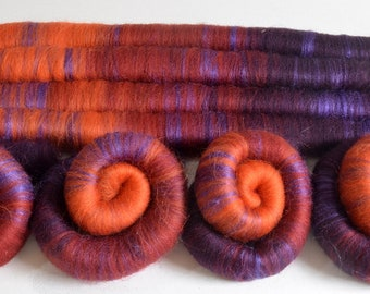 Shetland and Silk Rolags - 100 grams Hand Blended Shetland Rolags for Spinning