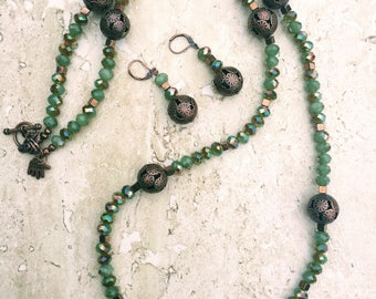 Green Necklace, Copper Necklace, Opera Necklace, Chunky Necklace, Statement Necklace, Rustic Copper Jewelry, Mothers Day Gift, Long Necklace