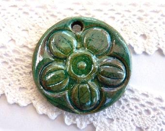 Raku pendant ~ handmade ceramic pendants, textured design, turquoise ceramic focal, jewelry components supply Boho artisan jewellery making