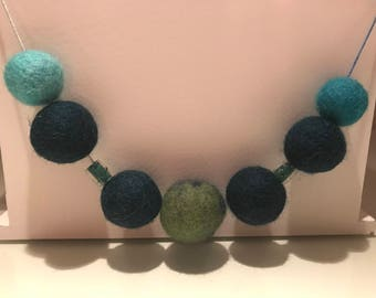 Felted Ball & Bead Necklace Handmade Merino Wool Green