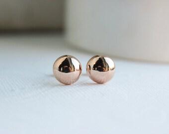 Rose Gold Earrings, Rose Gold Studs, Wedding Earrings, Bridal Earrings, Rose Gold Earrings, Everyday Earrings, Bridesmaid Earrings