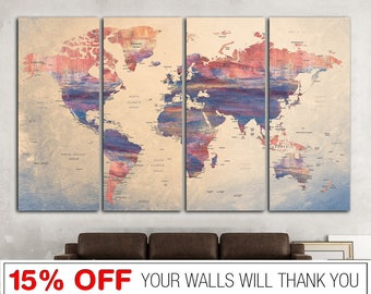 Worldmap print etsy word map canvas world map print world map wall art world map gumiabroncs Image collections