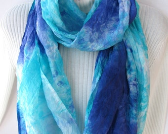 Spring Iris - Hand Dyed silk Infinity Scarf for women spring and summer fashion accessory womens scarves