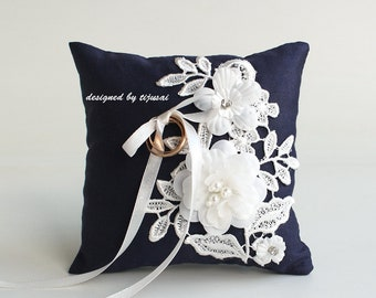Navy blue Wedding pillow with flowers and embroidering---ring bearer pillow, wedding rings pillow , wedding pillow, ready to ship