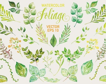 Watercolor Foliage Leaves, Laurel and Wreath, wedding clip art, watercolor clip art, hand painted, leaves, watercolour clip art