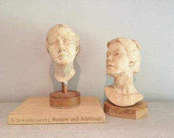 Pair of Vintage Artist Models Sculptures of Women's Head Busts on Stands Extraordinary Pair from Artist Studio