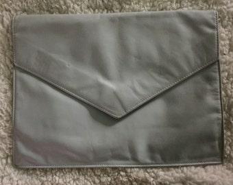 Vintage leather gray clutch handbag