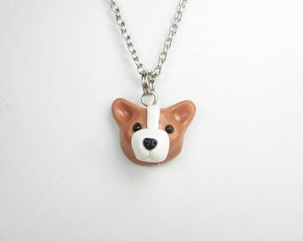 Pembroke Welsh Corgi Necklace - Corgi dog jewelry, polymer clay dog lover gift gifts for her unique minimalist charm cute kawaii animal