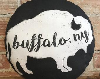 Black Round Buffalo, NY Pillow