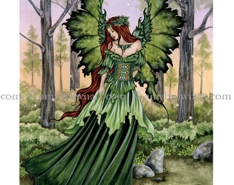 8.5x11 Lady of the Forest green fairy PRINT by Amy Brown