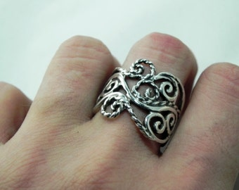 Sterling Silver Wave Ring - Silver Swirl and Rope Ring - Unique Handcrafted Silver Antique Artisan Swirl Band Ring - Swirl Statement Ring