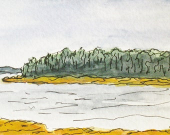Miniature Maine Painting Winslow Park Island View Watercolor ACEO Artist Trading Card Pen and Ink Drawing Original Art by Kathleen Daughan