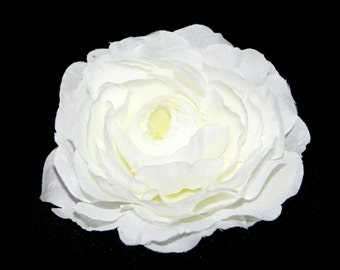 1 Large White Ranunculus - Silk Flowers, Artificial Flowers, Flower Head
