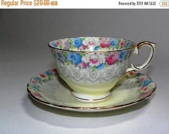 ON SALE Antique Crown Staffordshire Teacup and Saucer