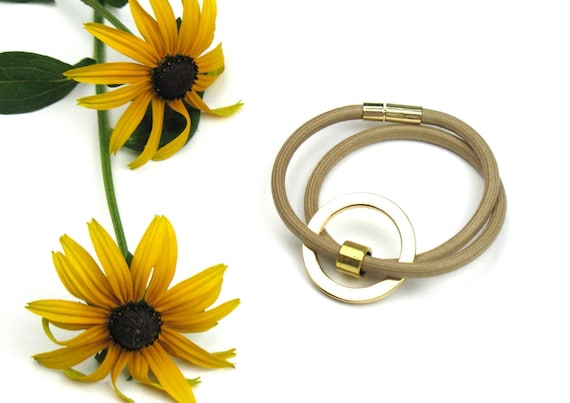 Wrap Bracelet in Gold and Beige with Mokuba Cord, Accent Ring and Plug in Clasp