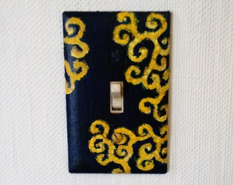 Single switch plate cover - navy/gold