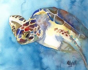 Sea Turtle Art Print of Original Watercolor Painting - 8x10