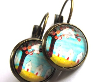 Beach Hut Earrings Glass and Brass Fashion Jewelry