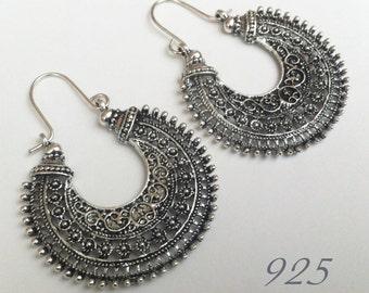 925 , Tribal Statement Earrings , Sterling Silver Earrings , Large Hoop Earrings , Tribal Earrings , Large Earrings , Handmade Jewelry