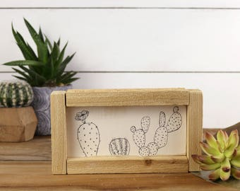Cactus Sign - Hand Drawn Cactus Wood Sign - Arizona Decor - Desert Decor - Wood Cactus Decor - Prickly Pear